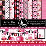 Sweet Owl Valentine Digital papres