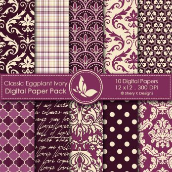 Classic Eggplant and Ivory Digital Papers