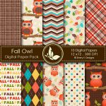 Fall Owl Digital Papers