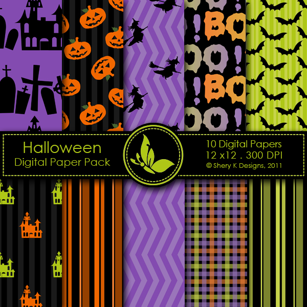 Free Halloween Digital Papers Shery K Designs