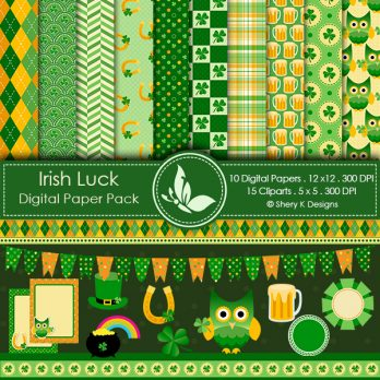 Irish Luck Patrick's Day Digital Papers
