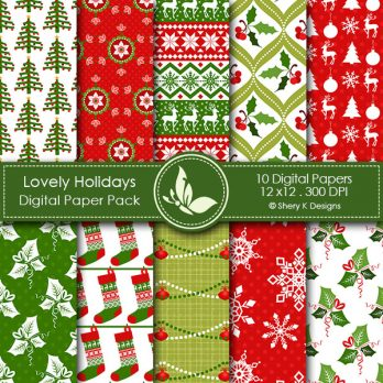 Lovely Holidays Digital Papers