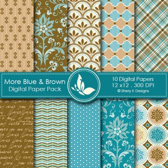 More Blue & Brown Digital Papers