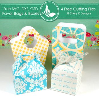 Free 4 SVG Favors Bags and Boxes Cutting Files