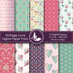 Vintage Love digital papers