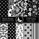 Black Roses Digital Papers