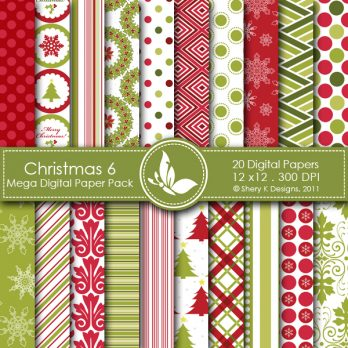 Christmas 6 Digital Paper Pack