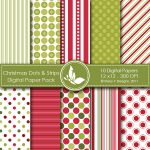 Christmas Dots & Strips Digital Papers