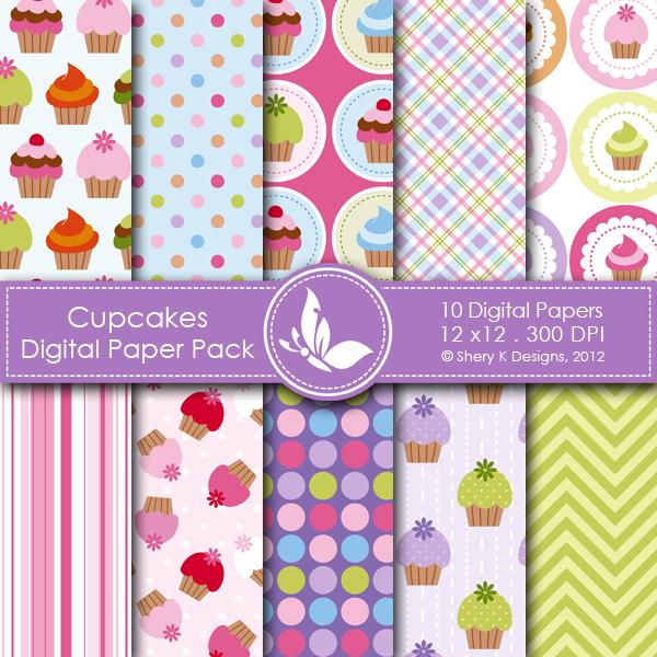 Cupcake Paper Design : Cupcakes Digital Paper Pack Shery K Designs