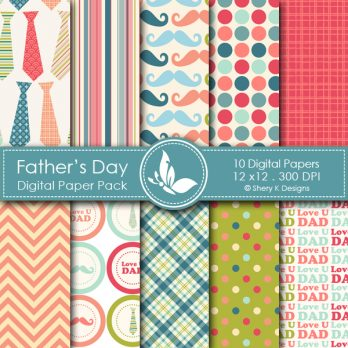 Father's Day Digital Papers
