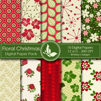 Floral Christmas Digital Papers