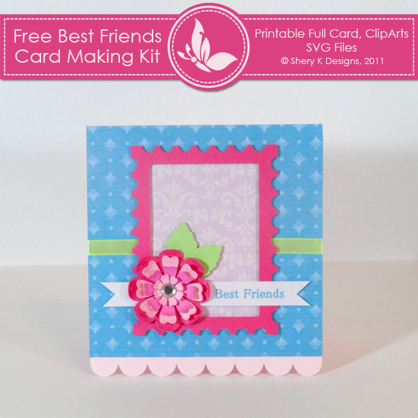 image regarding Printable Friendship Cards known as Free of charge Perfect Close friends Card Developing Package Shery K Layouts