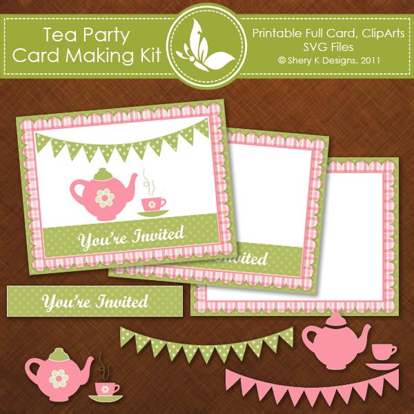 Free SVG Tea Party Invitation Card – Invitation Card Making