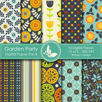 Garden Party Digital Paper Pack