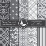 Gray Damask Digital Papers