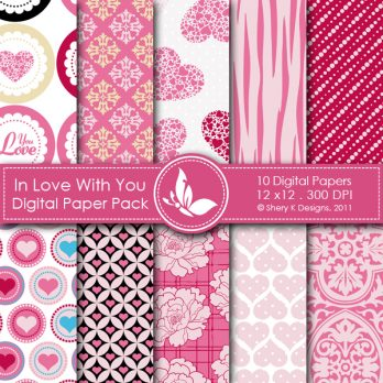 In Love With You digital papers