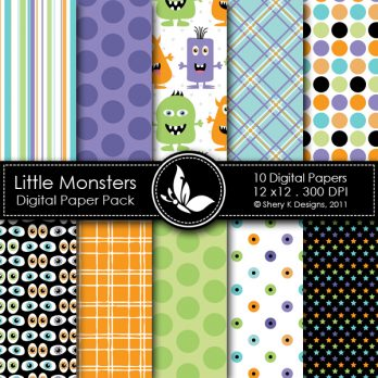 Little Monsters Digital Paper Pack