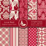 Love Red Digital Paper Pack