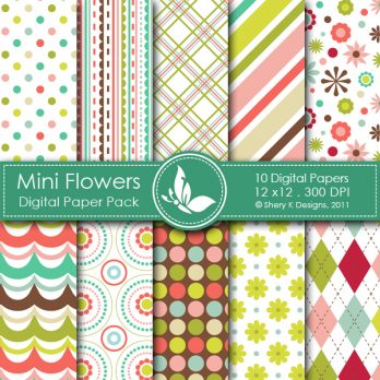 Mini Flowers Digital Paper Pack