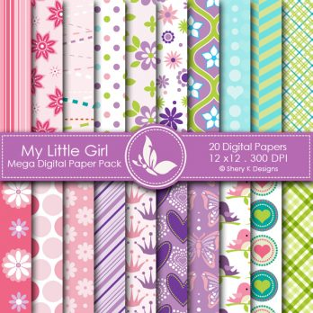 My Little Girl Digital Papers