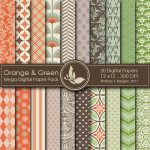Orange & Green Digital Papers