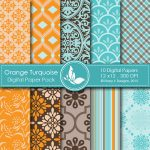 Orange Turquoise Digital Papers