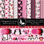 Penguins In Love Digital Papers