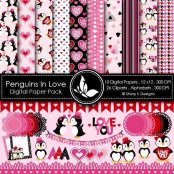 Penguins In Love Digital Papers