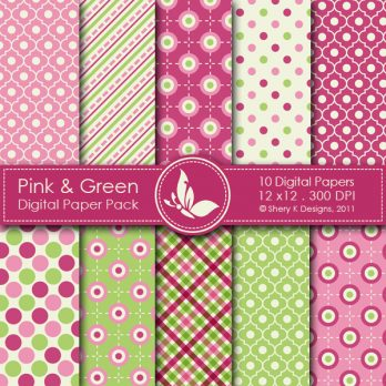 Pink & Green Digital Papers