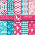 Pink & Turquoise Digital Papers