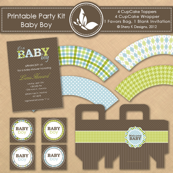printable kit baby shower boy shery k designs. Black Bedroom Furniture Sets. Home Design Ideas