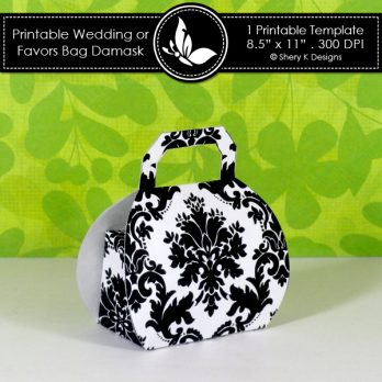Printable Wedding or Favors Bag Damask