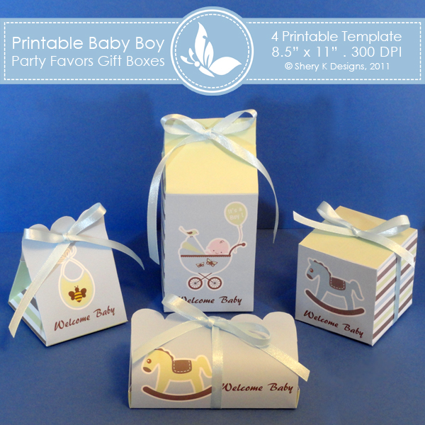 Wedding Favor Boxes Under 50 Cents : Baby boy party favors gift box shery k designs