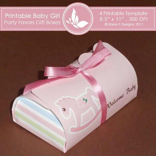 Baby Girl Gift Box : Baby girl party favors gift box shery k designs