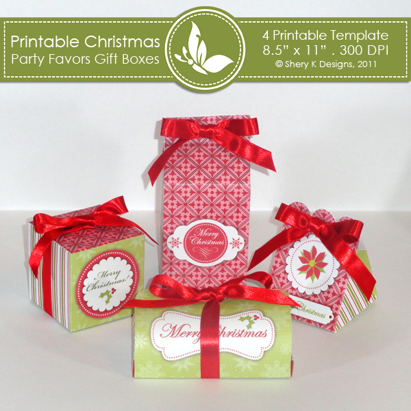 Christmas Gift Box Template.Christmas Party Favors Gift Boxes
