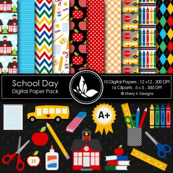 School Day Digital Papers Cliparts