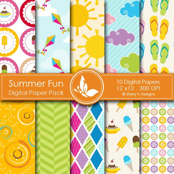 summer fun digital papers shery k designs