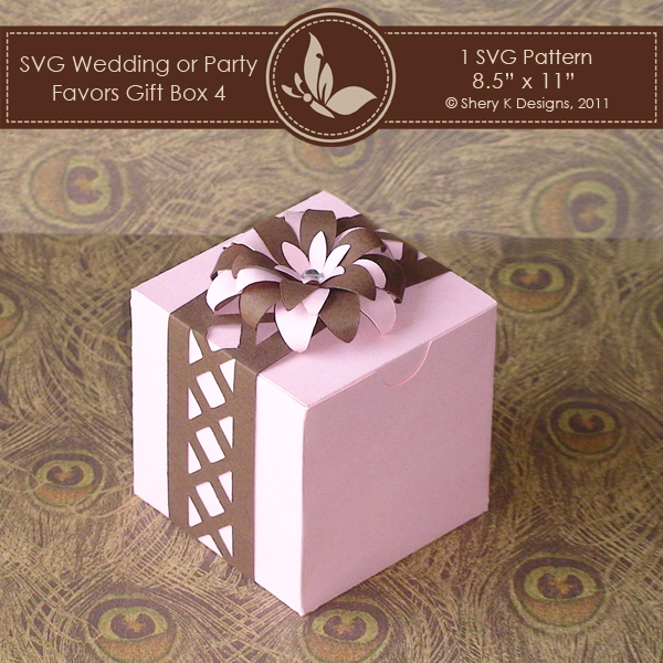 Wedding Gift Box Pattern : SVG Favors Gift Box 4 With Flower & Border Shery K Designs