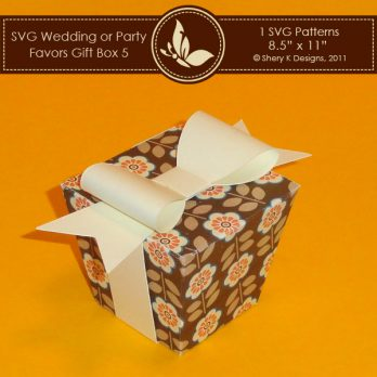 SVG Favors Gift Box 5 with Bow