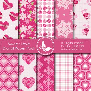 Sweet Love digital papers