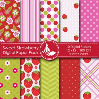 Sweet Strawberry Digital Papers