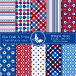 USA Dots & Strips Digital Papers