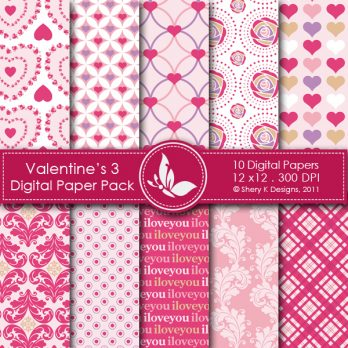 Valentine's Day 3 Digital Papers