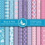 Blue & Pink Digital Paper Pack