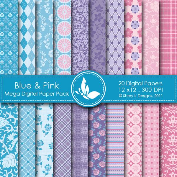 Blue & Pink Digital Paper Pack