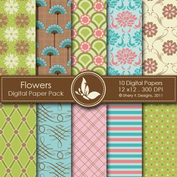 Flowers Digital Paper Pack