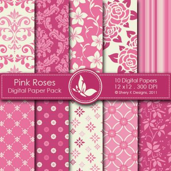 Pink Roses Digital Paper Pack
