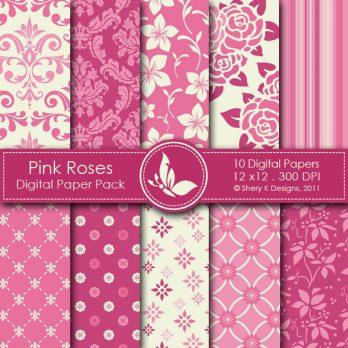 Pink Roses Digital Paper Pack