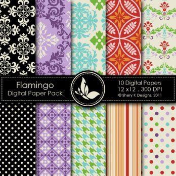 Flamingo Digital Paper Pack