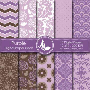 Purple Digital Paper Pack